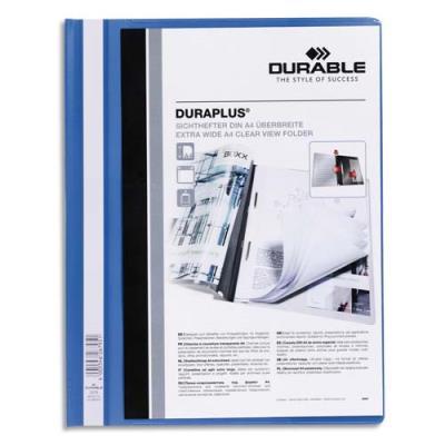 Chemise de présentation à lamelles personnalisable Durable Duraplus - 24 x 31 cm - bleu (photo)