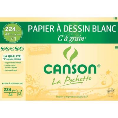 Pochette de 12 feuilles à dessin Canson 'C' à Grain - 224g - format 21x29,7cm - blanc (photo)