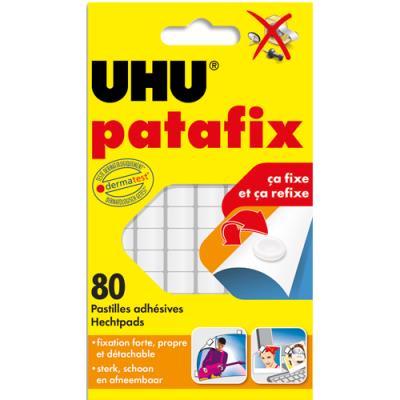 Bandes prédécoupées de 80 pastilles Patafix Uhu Blanche - Etui de 6 bandes (photo)