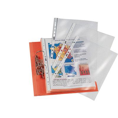 Pochettes perforées A4 - polypropylène grainé 6/100 - boîte de 100 (photo)