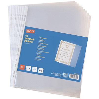 Pochettes perforées A4 polypropylène lisse 6/100 insertion par le côté - boîte de 25 (photo)