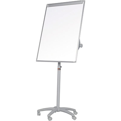 Chevalet mobile Bi-Office Classic - surface magnétique en acier laqué - cadre gris - 700 x 1 000 mm (photo)