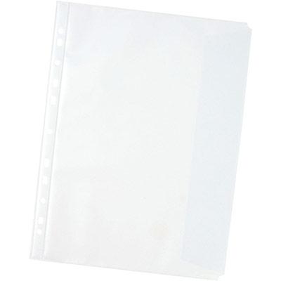 Pochettes perforées A4 - polypropylène grainé 11/100 - avec rabat à droite -boîte de 10 (photo)