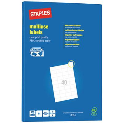 Etiquettes Pergamy multi-usage - 52,5 x 29,7mm - en planche A4 - coins carrés - boîte de 4000