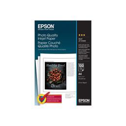 Epson Photo Quality Ink Jet Paper - mat - enduit - blanc pur - A4 (210 x 297 mm) - 102 g/m² - 100 feuille(s) papier - pour EcoTank ET-2710, 2714, 2720, 2721; Expression Photo XP-970; SureColor SC-P7500, T3100 (photo)