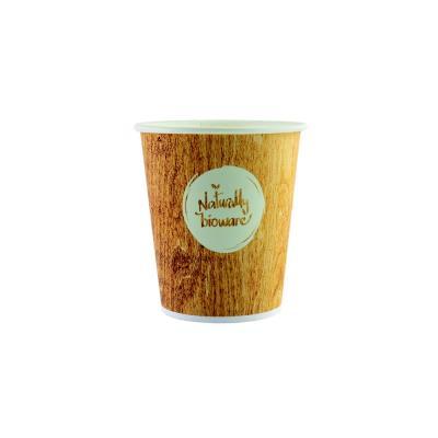 Gobelet jetable pour boisson chaude ou froide - 20 cl en carton biodégradable - 4 coloris assortis - impression Naturally Bioware - paquet 50 unités (photo)