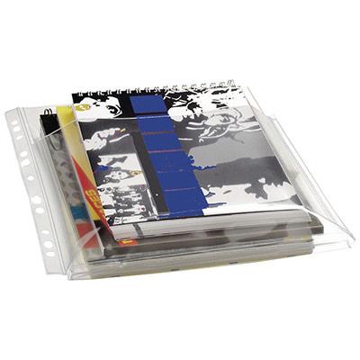 Pochette perforée lisse - A4 - polypropylène 300 microns - 11 trous - transparent - sac 10 unités (photo)