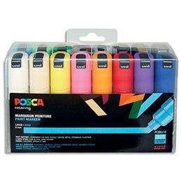 Marqueurs peinture Posca Uniball - pointe biseautée large - coloris assortis - set de 16