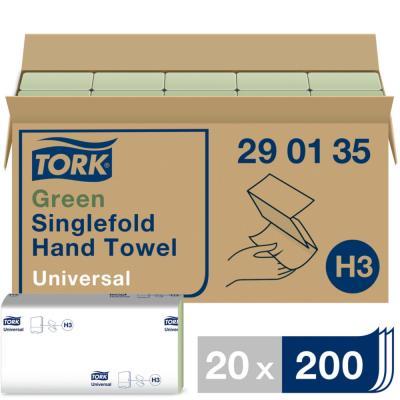 Essuie-mains Universal H3 recyclé 1 pli - enchevêtré - paquet de 200 feuilles - vert - paquet 20 x 200 feuilles