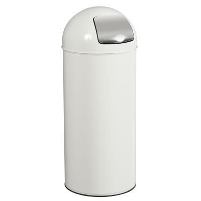 Poubelle PUSH couvercle à trappe - 45L - blanc