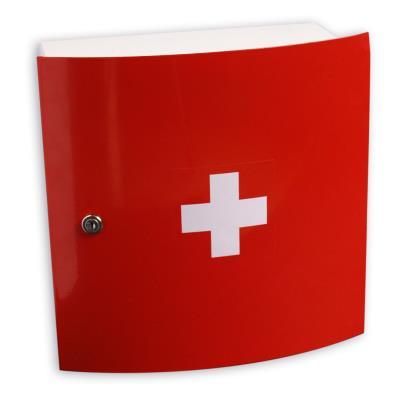 Armoire à pharmacie 1 portee - L32 x H32 x P15 cm - rouge et croix blanche (photo)