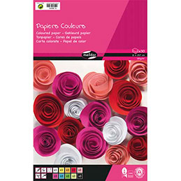 Bloc de 30 feuilles de papier couleur 130g Clairefontaine -  format A4 - couleurs assorties (photo)