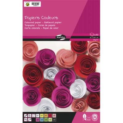 Bloc de 30 feuilles de papier couleur 130g Clairefontaine -  format A4 - couleurs assorties (photo)