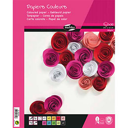 Bloc de 30 feuilles de papier couleur 120g Clairefontaine - format A3 - couleurs assorties (photo)