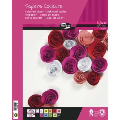 Bloc de 30 feuilles de papier couleur 120g Clairefontaine - format A3 - couleurs assorties (photo)