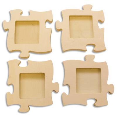 4 cadres puzzle en bois à décorer - 160x160x10 mm