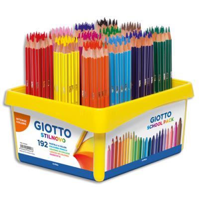 Schoolpack Giotto de 192 crayons de couleur Stilnovo assortis