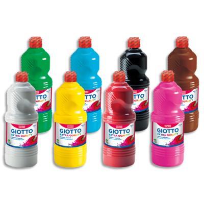 Lot de 8 x 1 litre de gouache liquide Giotto couleurs assorties
