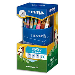 Pot de 36 crayons de couleur triangulaires Lyra mine 6,25 mm Ferby assortis (photo)