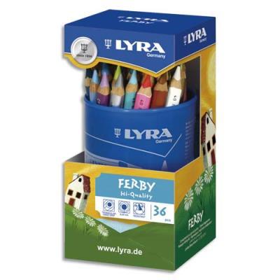 Pot de 36 crayons de couleur triangulaires Lyra mine 6,25 mm Ferby assortis