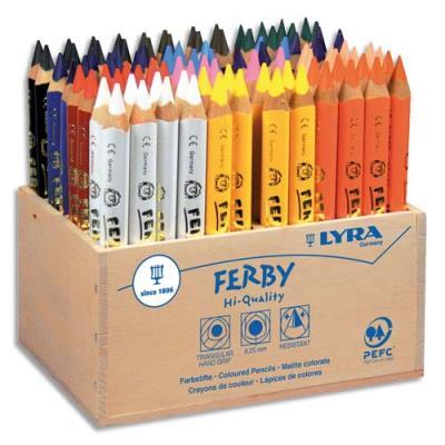 Présentoir en bois Lyra contenant 96 crayons de couleur triangulaires mine 6,25 mm Ferby assortis (photo)