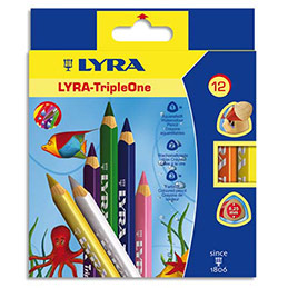 Etui de 12 crayons de couleur Lyra Triple One couleurs assorties (photo)