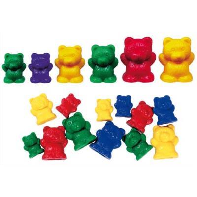 Lot de 96 oursons Culture Club à trier 3 tailles 4 couleurs livré dans un seau de rangement (photo)