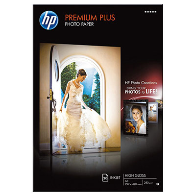 Papier photo Premium Plus HP CR675A - A3 - 300 g - finition brillant - boîte de 20 feuilles