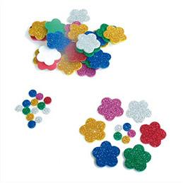 Lot de 500 formes en mousse 250 fleurs D2,5 cm et 250 ronds D0,8 cm pailletées adhésives (photo)