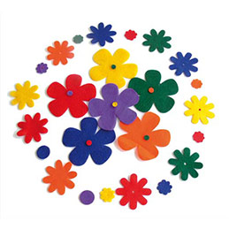 Lot de 180 formes adhésives en feutrine fleurs assorties (photo)