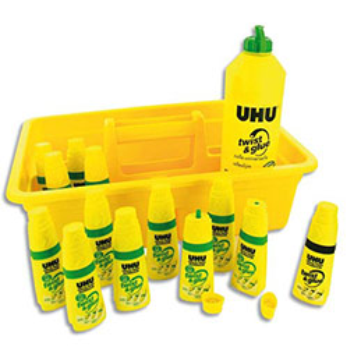 Schoolpack de 12 flacons Twist and Glue UHU + recharge 500ml (photo)