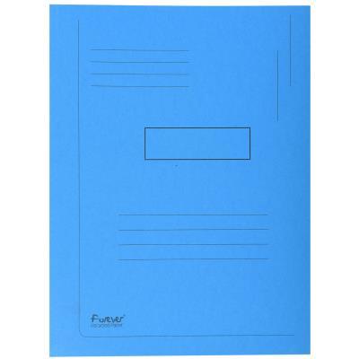 Chemise Exacompta Forever A4 à 2 rabats avec lignes imprimées - 200 feuilles 240 x 320 mm - carton comprimé recyclé - bleu - paquet 50 unités
