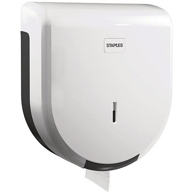 Distributeur de rouleaux de papier toilette géants - plastique ABS - verrou - blanc - 320 x 285 x 120 mm