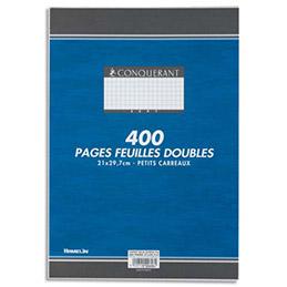 Copies doubles Conquérant 7 - non perforées - blanches - 21x29.7cm - 400 pages - petits carreaux - 70g - Sous étuis (photo)