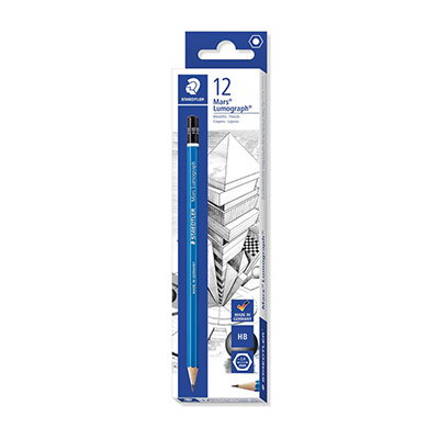 Crayon graphite Staedtler Mars Lumograph - mine HB - corps hexagonal bleu - lot de 12 (photo)