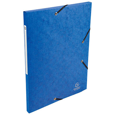 Chemise Exacompta Scotten Nature Future A4 à 3 rabats avec élastique de retenue - 240 x 320 mm - carton comprimé - bleu