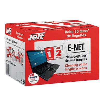 Lingette Jelt - E-net - pour écrans plats - boîte de 25 - pack promo : 2 boîtes de 25 lingettes + 1 OFFERTE - paquet 3 unités (photo)