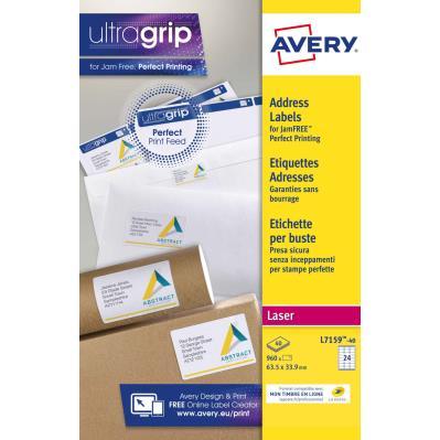 Étiquettes auto-adhésives d'adresses laser Avery - faciles à décoller - 63,5 x 33,9 mm - 24 Étiquettes par feuilles A4 - blanches - paquet 40 feuilles (photo)