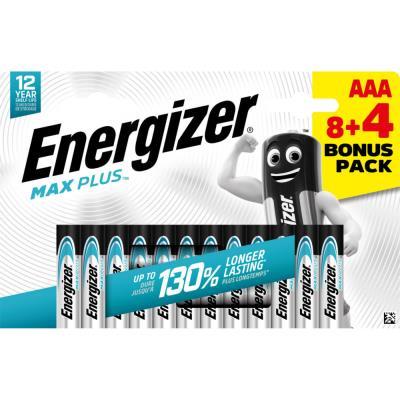 Pile alcaline AAA / LR3 Energizer Max Plus - pack Promo 8 + 4 GRATUITES - blister 12 unités