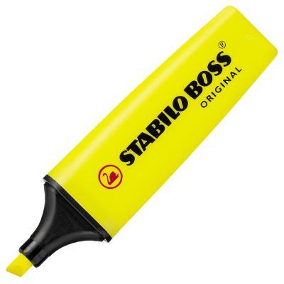 Stabilo Boss jaune - surligneur pointe large biseautée (photo)