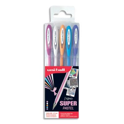 Pochette de 5 stylos bille Uniball Signo Fantastic - encre gel - écriture 0.5mm - couleurs pastelles assorties