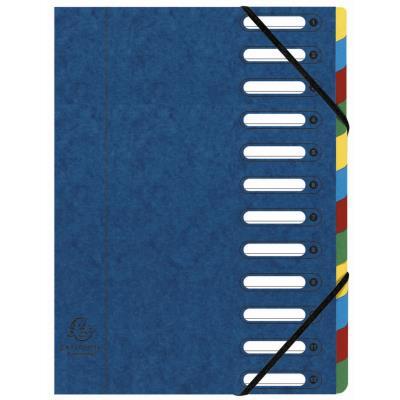 Trieur Exacompta Harmonika Nature Future avec dos extensible à soufflet et fenêtres prédécoupées 600 feuilles A4 12 compartiments 24 x 32 cm Carton bleu