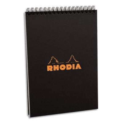 Bloc Rhodia à reliure intégrale en-tête couverture noire n°16 - format 14,8 x 21 cm - réglure petits carreaux 5x5 (photo)
