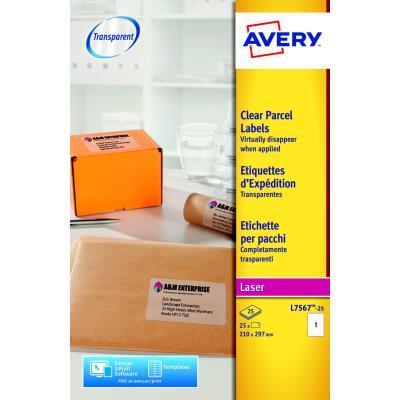 Etiquettes invisibles Avery L7567-25 - laser - 210 x 297 mm - boîte de 25