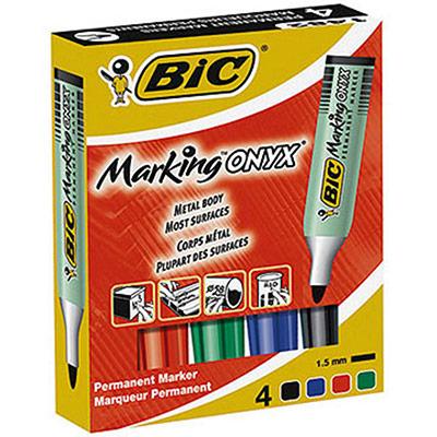 Marqueur permanent Bic Marking Onyx 1482 - pointe ogive trait de 1,5 mm - 4 couleurs assorties