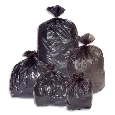 Sacs poubelles multi usages - 150 L - noir -  42 microns - lot de 100 sacs (photo)