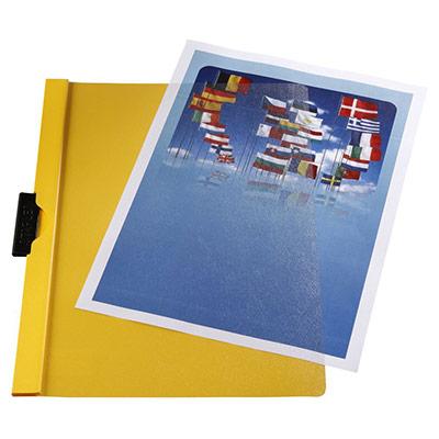 Chemise à clip métal  en PVC - jaune - 30 feuilles (photo)