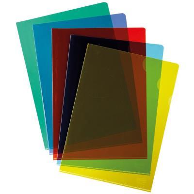 Pochettes coin A4 PVC 10/100 - couleurs assorties - boîte de 100