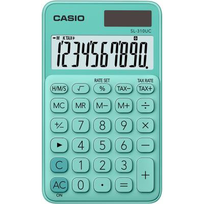 Calculatrice de poche Casio - 10 chiffres - verte