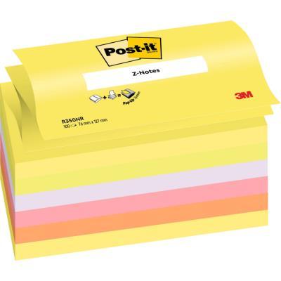 Z-notes Post-it - 7,6 x 12,7 cm - coloris néon assortis - bloc 100 feuilles